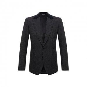 Пиджак из хлопка и шерсти Dolce & Gabbana. Цвет: серый