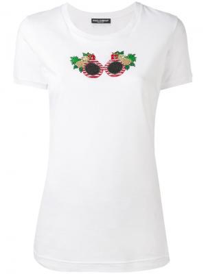 Футболка с рисунком из бисера Dolce & Gabbana. Цвет: белый