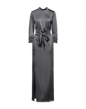 Длинное платье GESTUZ. Цвет: свинцово-серый