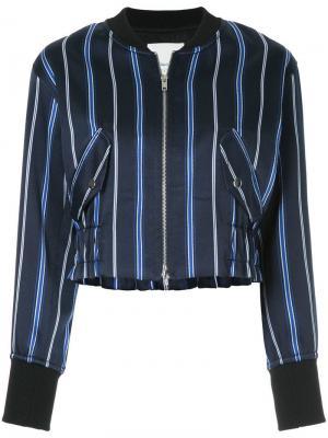 Куртка-бомбер на молнии в полоску 3.1 Phillip Lim. Цвет: синий