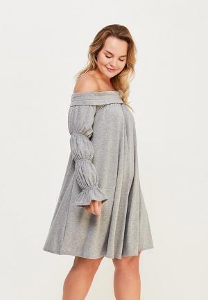 Платье Lost Ink Plus BARDOT DRESS IN RIB. Цвет: серый