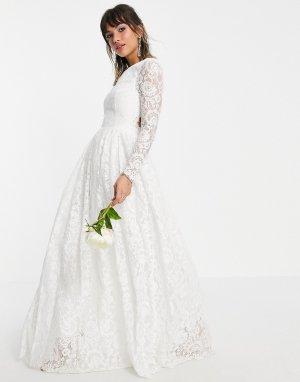 Кружевное свадебное платье с длинными рукавами и открытой спиной Odette-Белый ASOS EDITION