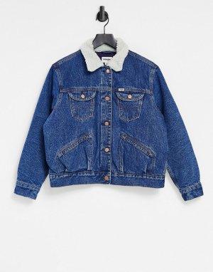 Джинсовая куртка с отделкой из искусственного меха -Голубой Wrangler