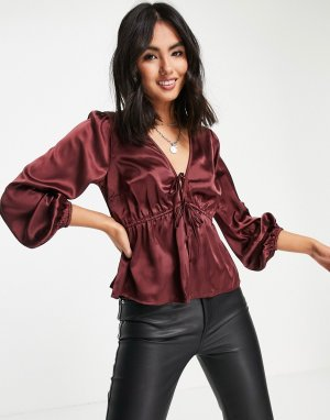 Атласная блузка бордового цвета -Розовый цвет Abercrombie & Fitch