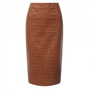 Кожаная юбка Ralph Lauren. Цвет: коричневый