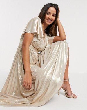 Золотистое платье макси с эффектом металлик -Золотой Goddiva