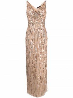 Вечернее платье с пайетками Jenny Packham. Цвет: нейтральные цвета