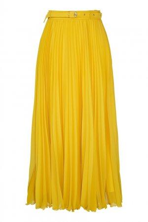 Желтая плиссированная юбка LAROOM. Цвет: желтый