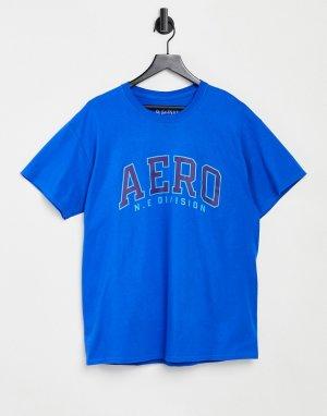 Футболка с надписью Aero N.E division -Голубой Aeropostale