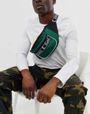 Зеленая сумка-кошелек на пояс с логотипом ремешке Retro-Зеленый Karl Kani