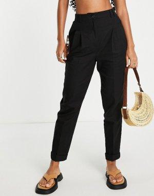 Черные брюки-галифе узкого кроя с завышенной талией из материала добавлением льна -Черный цвет ASOS DESIGN