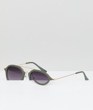 Круглые солнцезащитные очки в оправе оливкового цвета с золотистой планкой -Зеленый AJ Morgan