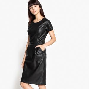 Платье офисное из искусственной кожи с застежкой на молнию сзади La Redoute Collections. Цвет: черный