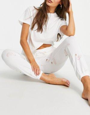 Пижамные штаны с принтом лебедей в форме сердечка от комплекта -Многоцветный Gilly Hicks