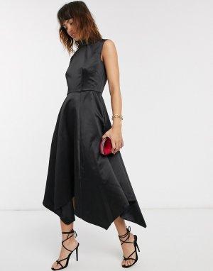 Платье с золотистой молнией и асимметричным подолом Closet-Черный Closet London