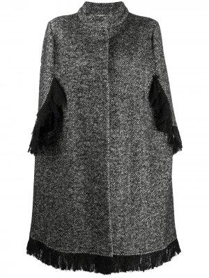 Однобортное пальто-кейп Charlott. Цвет: черный