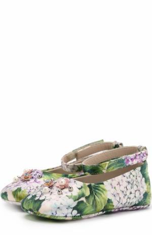 Текстильные пинетки с цветочным принтом и аппликацией Dolce & Gabbana. Цвет: зеленый