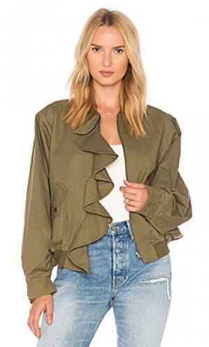 Куртка-бомбер оверсайз с воланами J.O.A.. Цвет: зеленый