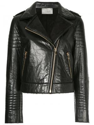 Байкерская куртка Yves Salomon. Цвет: чёрный