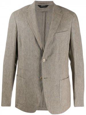 Однобортный пиджак узкого кроя Z Zegna. Цвет: коричневый