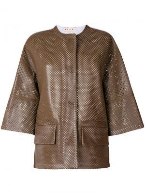 Кожаная куртка с перфорацией Marni. Цвет: коричневый