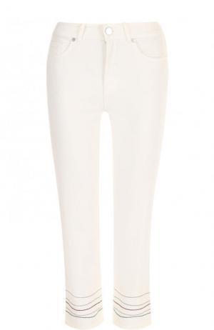 Укороченные джинсы с контрастной отделкой Loro Piana. Цвет: белый