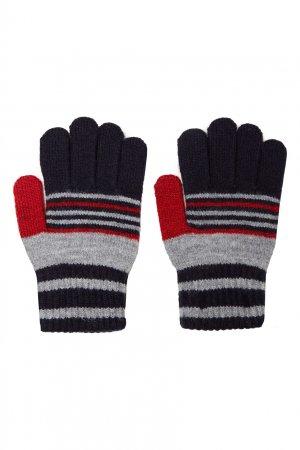Темно-синие перчатки с узором Junior Republic. Цвет: синий