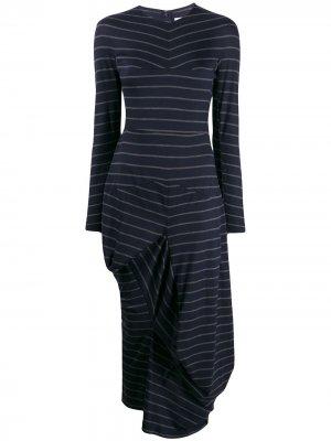 Платье-свитер асимметричного кроя в полоску Chalayan. Цвет: синий