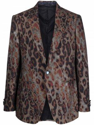 Пиджак с леопардовым принтом ETRO. Цвет: нейтральные цвета