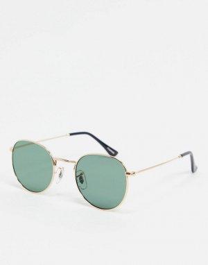 Круглые солнцезащитные очки с золотистой оправой -Золотистый A.Kjaerbede