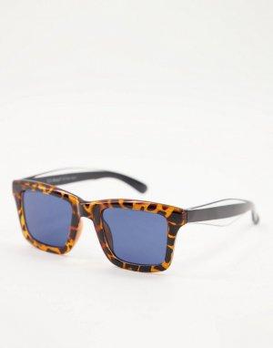 Квадратные солнцезащитные очки в коричневой черепаховой оправе с темно-синими стеклами стиле унисекс -Коричневый цвет AJ Morgan