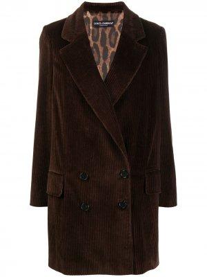 Long corduroy double-breasted blazer Dolce & Gabbana. Цвет: коричневый