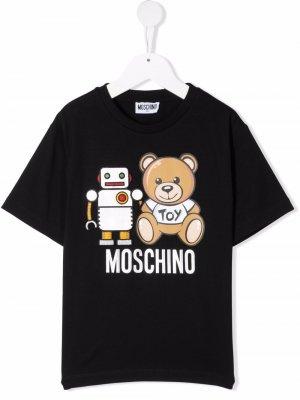Футболка с принтом Teddy Bear Moschino Kids. Цвет: черный