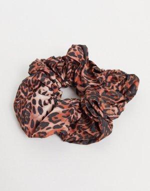 Большая резинка для волос с леопардовым принтом ASOS DESIGN-Многоцветный