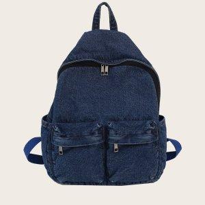 Минималистичный джинсовый рюкзак большей емкости SHEIN. Цвет: темно-синий