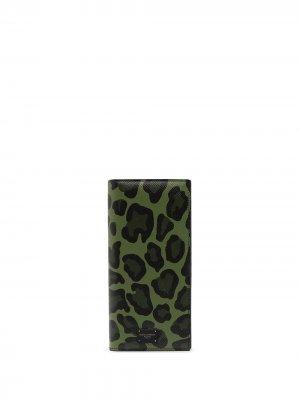 Бумажник с анималистичным принтом Dolce & Gabbana. Цвет: зеленый
