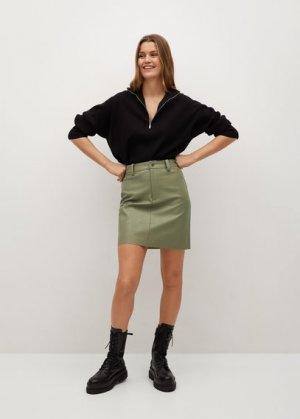 Мини-юбка из искусственной кожи - Olivia Mango. Цвет: зеленый