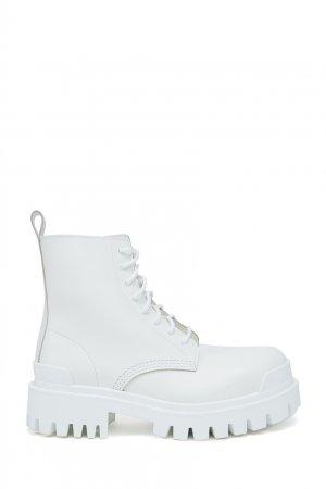 Белые кожаные ботинки Strike Balenciaga. Цвет: белый