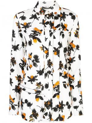 Блузка на пуговицах с длинными рукавами и цветочным принтом Derek Lam. Цвет: белый