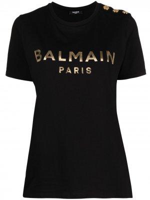 Футболка с короткими рукавами и логотипом Balmain. Цвет: черный