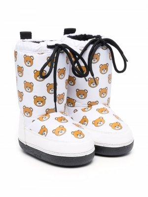 Teddy Bear-print snow boots Moschino Kids. Цвет: белый
