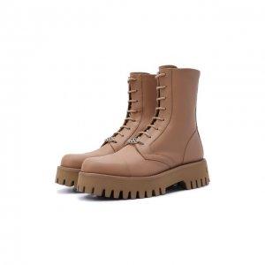 Кожаные ботинки Casadei. Цвет: бежевый