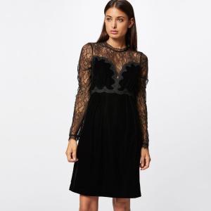 Платье короткое расклешенное с длинными рукавами MORGAN. Цвет: черный