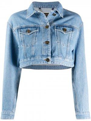 Укороченная джинсовая куртка с принтом Elisabetta Franchi. Цвет: синий