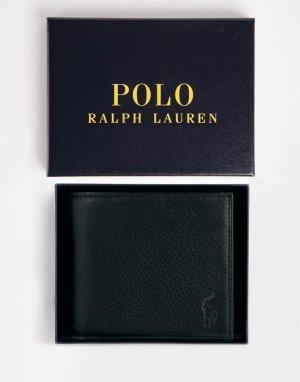 Черный кожаный бумажник -Черный цвет Polo Ralph Lauren