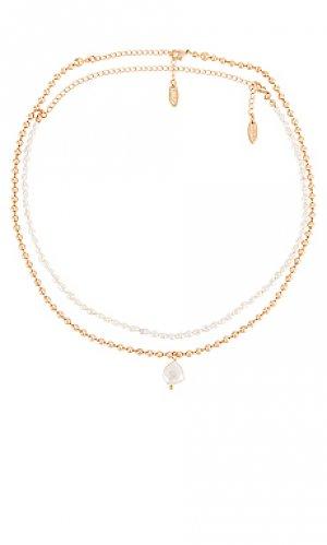 Многорядное ожерелье Ettika. Цвет: металлический золотой