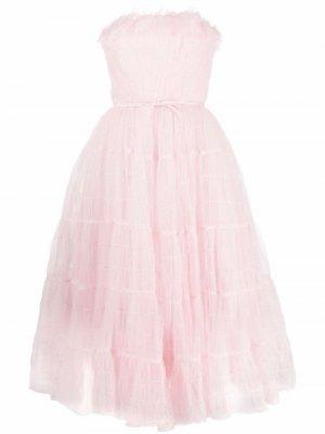 Платье миди с оборками Giambattista Valli. Цвет: розовый