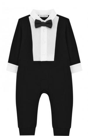 Хлопковый комбинезон с декоративной отделкой и галстуком-бабочкой Dolce & Gabbana. Цвет: чёрный