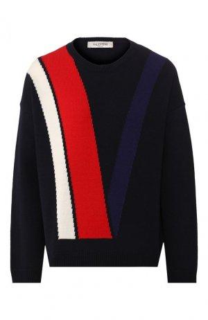 Пуловер из смеси шерсти и кашемира Valentino. Цвет: синий