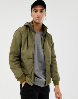 Куртка цвета хаки с капюшоном Bershka. Цвет: зеленый